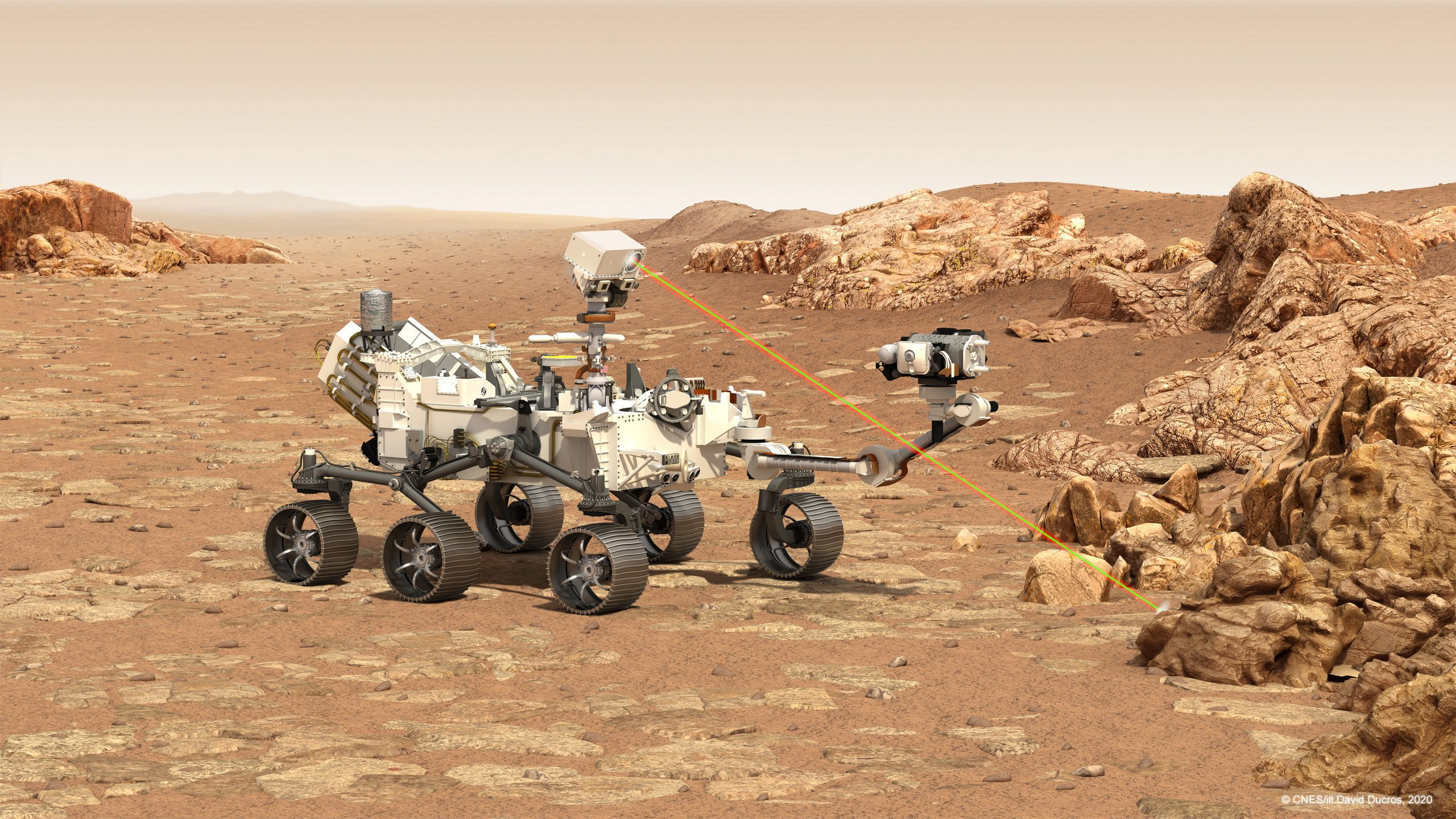 The SuperCam instrument in action on the NASA Perseverance Mars rover.